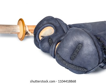 protective gloves 'kote'  and bamboo sword 'sinai' for Japanese fencing Kendo training close-up