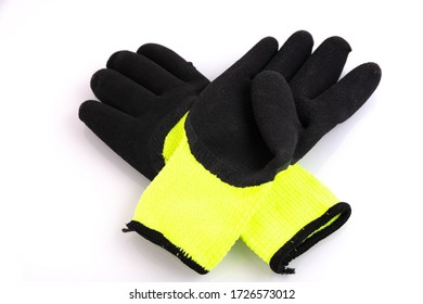 Protective gloves yellow and black on a white background