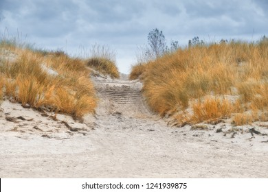 Protective grass holds sand beaches in island Rugen, Northern Germany, on Baltic sea. Entrance to the beach through coastal dunes on island Hiddensee in Northern Germany on a gloomy day in Autumn.