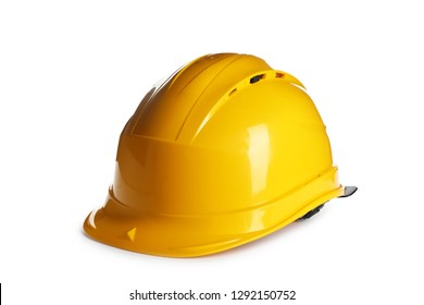 Protective hard hat on white background. Safety equipment