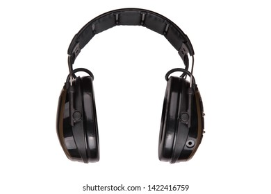 Protective headphones on white background. Safety equipment. Headphones for noise reduction.