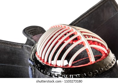 protective helmet 'men' for Japanese fencing Kendo training close-up from top