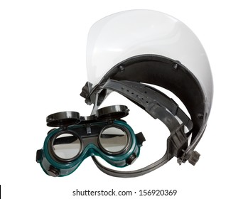 Protective mask welding glasses isolated on white background