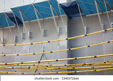 Protective net of construction of external wall and yellow wire cover