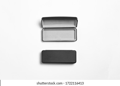Protective open and closed glasses cases mock-up isolated on white background.Device for used to store glasses. For convenience and orderliness.High resolution photo.