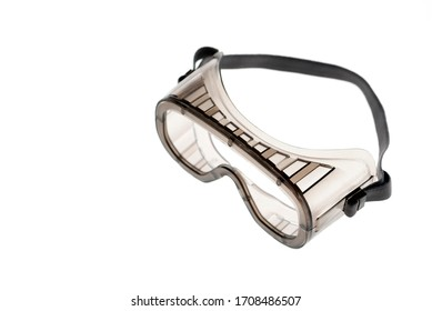 Protective silicone goggles on white background