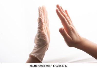 Protective sterile latex glove.   Coronavirus COVID-19 pandemic concept
