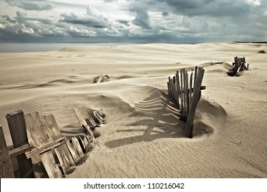 Protective structures on the Curonian Spit against the movement of sand dunes. Kaliningrad Oblast, Russia