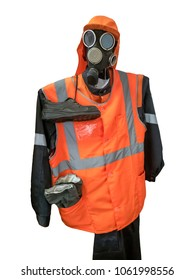 Protective suite with mask isolated. Clipping path and buut included.