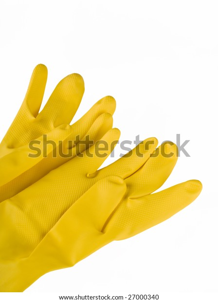 Protective yellow glove on white background
