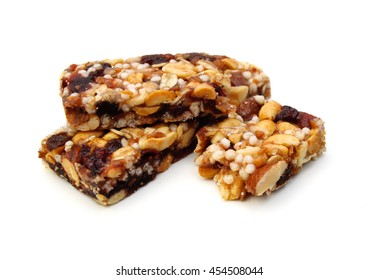 protein bar with nut on white background