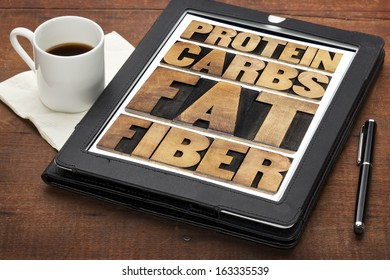 protein, carbs, fat, fiber - dietary components of food -  word abstract in letterpress wood type on a digital tablet