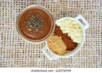 Protein chocolate banana avocado smoothie with maca powder