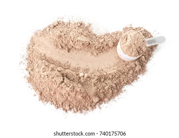 Protein powder and scoop on white background