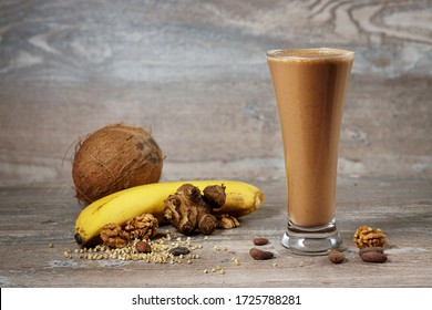 protein smoothie with banana, nuts, cocoa and coconut milk