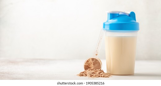 Protein sport shake and powder . Fitness food and drink. Diet. Banner. Copy space