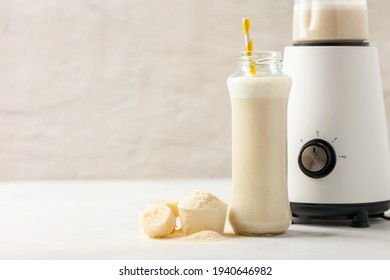 Protein sport shake and powder . Fitness food and drink. Diet