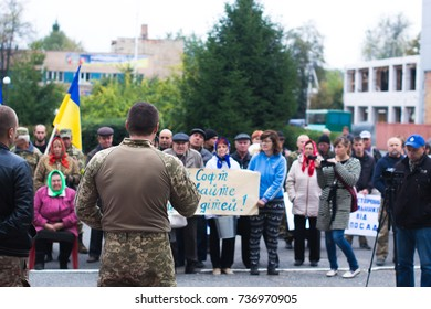 Protest action in the Ukrainian town in the Cherkasy region on October 2, 2017.