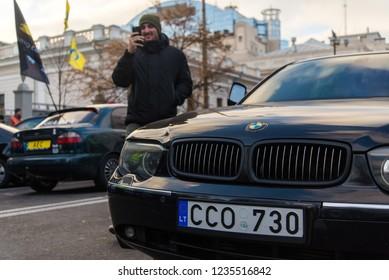 Protest of car owners at evronomer in Kiev November 20, 2018