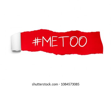 Protest hashtag MeToo on ripped red paper, used for campaign against sexual violence and abuse of women.