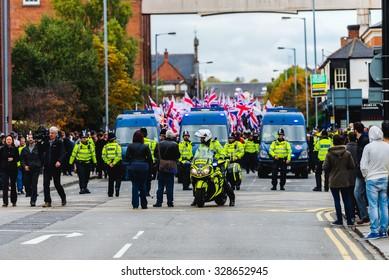 Protest march in Burton Upon Trent. Burton Upon Trent UK,17 October 2015, Britain First organised Protest march in Burton Upon Trent.