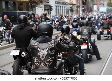 Protest of motorcycle clubs(MC) in Oslo. Norway. September 14, 2013. Motorcycle brotherhood clubs Bandidos, Gladiators, Hells Angels, Road Pirates etc. held the protest against a bias of the police.