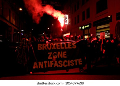 Protesters from Anarchist organizations take part in Anti-fascist demonstration against the ultra nationalist parties and fascist group in Brussels, Belgium on Nov. 24, 2016