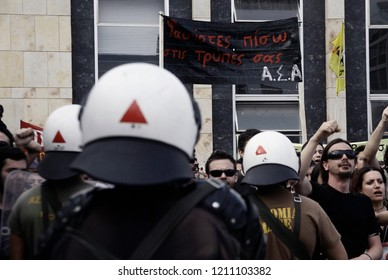 Protesters from Anarchist organizations take part in Anti-fascist demonstration against the ultra nationalist parties and fascist group in Thessaloniki, Greece on June 15, 2014