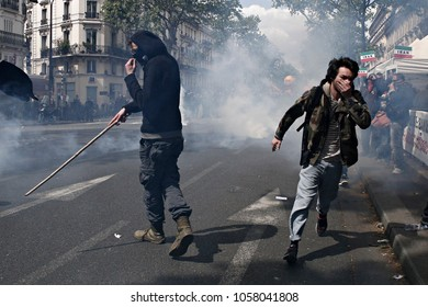 Protesters clashed with riot police during a march for the annual May Day workers' rally in Paris, France on May 1, 2017.