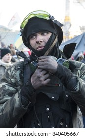 Protesters during riots in Kiev, Ukraine, February 18, 2014