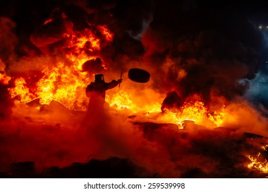 Protesters in a fire