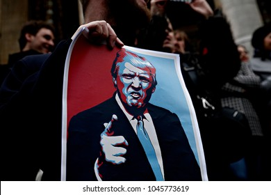 Protesters gather in Bourse square to protest President Trump's Executive order imposing controls on travelers from Iran, Iraq, Libya, Somalia, Sudan, Syria, Yemen in Brussels,Belgium on Jan. 30, 2017