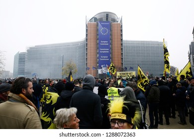 Protesters of right-wing and far-right Flemish associations take part in a protest against Marrakesh Migration Pact in Brussels, Belgium on Dec. 16, 2018.