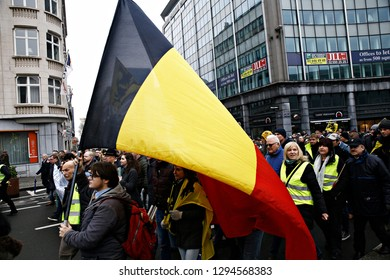 Protesters of right-wing and far-right Flemish associations march during a protest against Marrakesh Migration Pact in Brussels, Belgium on Dec. 16, 2018.