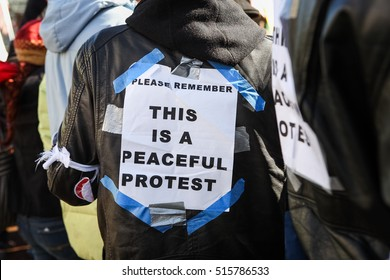 """Protester's sign """"This is a peaceful protest"""""""