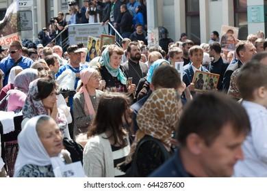 Protesting Orthodox activists at the LGBT Pride in Chisinau, Moldova 21 May 2017