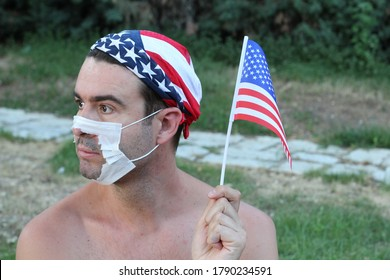 Protestor with broken surgical mask in the USA