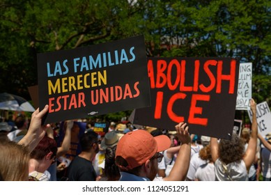 Protestors at the Families Belong Together rally in Lafayette Square in Washington, DC on Saturday, June 30, 2018 demonstrate against the Trump Administration's zero tolerance immigration policies.