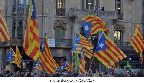 Protests in Catalonia. People occupied the streets on 20th of september 2017 to affirm their right to vote for the referendum  that will decide if Catalonia will be an independent country or not.