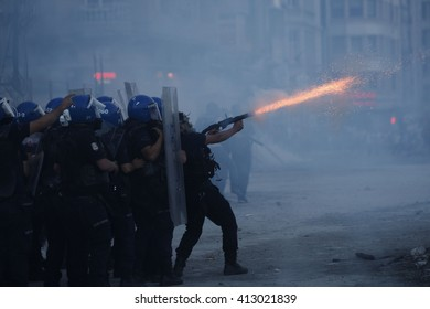 Protests in Istanbul. Police disperse activists with tear gas. Istanbul, Turkey, 12 June 2013
