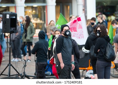 Protests in Trier on the 08.06.2020, Germany, rhineland palatinate, Antifa, demonstration against racism, protest George Floyd, people wearing masks, covid-19