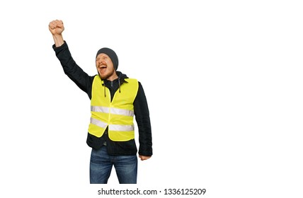 Protests yellow vests. Man raised his hand into a fist and shouted on isolated