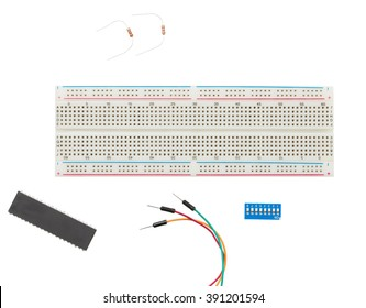 Prototype Solderless electrical Breadboard with Jumper cable, resistors, toggle switch isolated