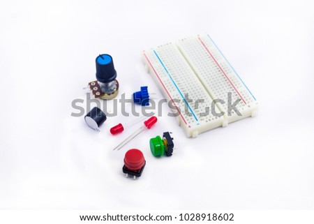 prototype solderless electrical breadboard led resistors stock photo
