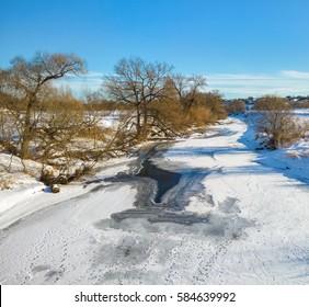Protva river in winter. Kaluga region. Russia