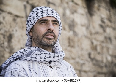 Proud arab man wearing Keffiyeh
