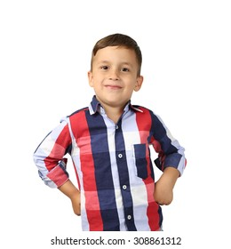 Proud Arabic looking little boy standing with hands on hips isolated on square white background