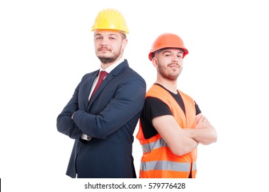 Proud or confident engineer and businessman posing back to back as successful partnership concept isolated on white