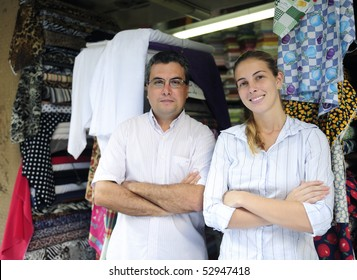 proud family business partners owners of a fabric store