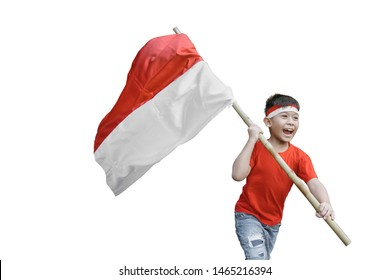 proud kid waving indonesian flag on independence day celebration isolated over white background